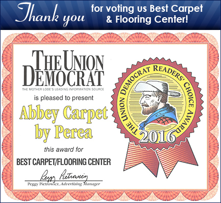 "Thank you for voting us ""Best Carpet & Flooring Center"" for 2016 in the Union Democrat Reader's Choice Award"